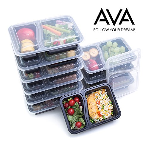 Durable Plastic Reusable Portion Control Meal Prep Containers - 10 Pack Food Containers 2 Compartment Premium by AVA  Leak Proof Microwave ...  sc 1 st  TakenCity & Reusable Food Storage Containers u2013 Food Prep Containers Ideal for ...