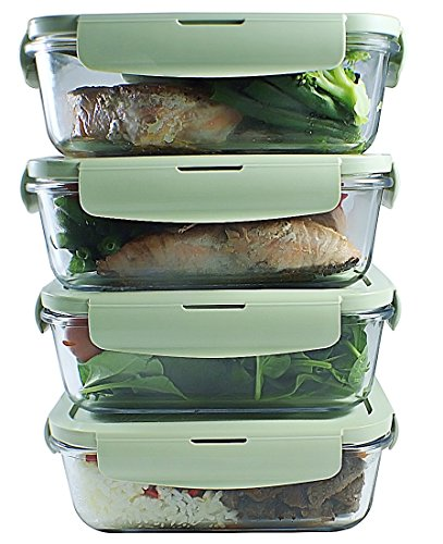Glass Meal Prep Containers 4 Packs Portion Control BPA FREE