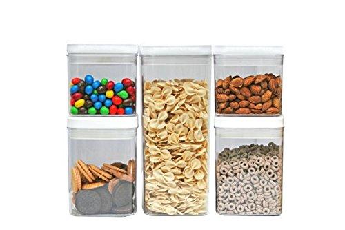 Durable Plastic U2013 Kitchen Pro 101 Tight Food Storage Container Set U2013 BPA  Free U2013 5 Piece Set U2013 Clear Plastic With White Lid