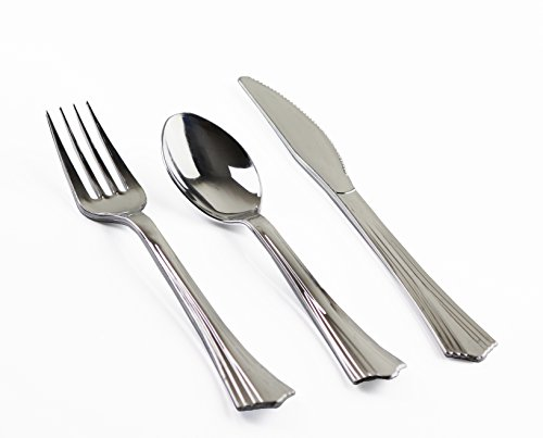 150 Count Heavy Duty Silver Plastic Cutlery Set u2013 50 Forks 50 Knives 50 Spoons u2013 Quality Bulk Disposable or Reusable Fancy Plastic Silverware Perfect For ...  sc 1 st  TakenCity & 150 Count Heavy Duty Silver Plastic Cutlery Set u2013 50 Forks 50 Knives ...