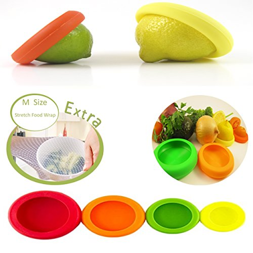 Vegetables Storage Containers Reusable silicone food savers free silicone food wrap fruit and reusable food covers silicone food savers this set will help to extend the life of your unused fruits and vegetables also can be used to reseal open workwithnaturefo